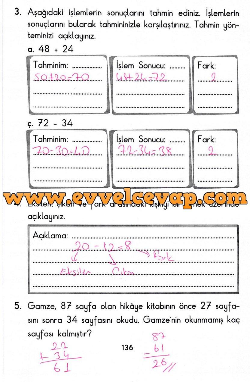 2 Sinif Basak Yayinlari Matematik Ders Kitabi Sayfa 136 Cevabi