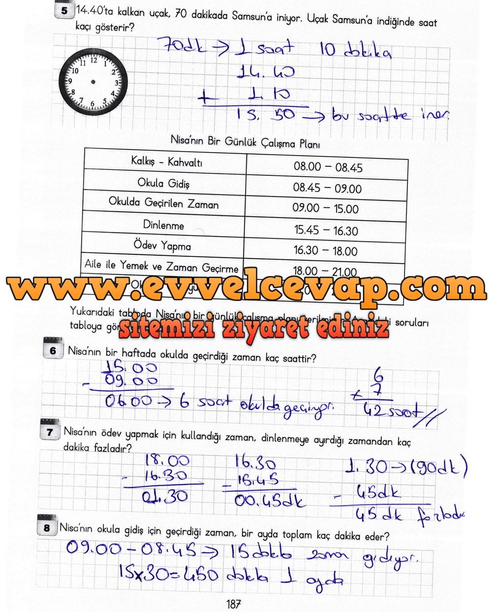 3. Sınıf Meb Yayınları Matematik Ders Kitabı Sayfa 187 Cevapları
