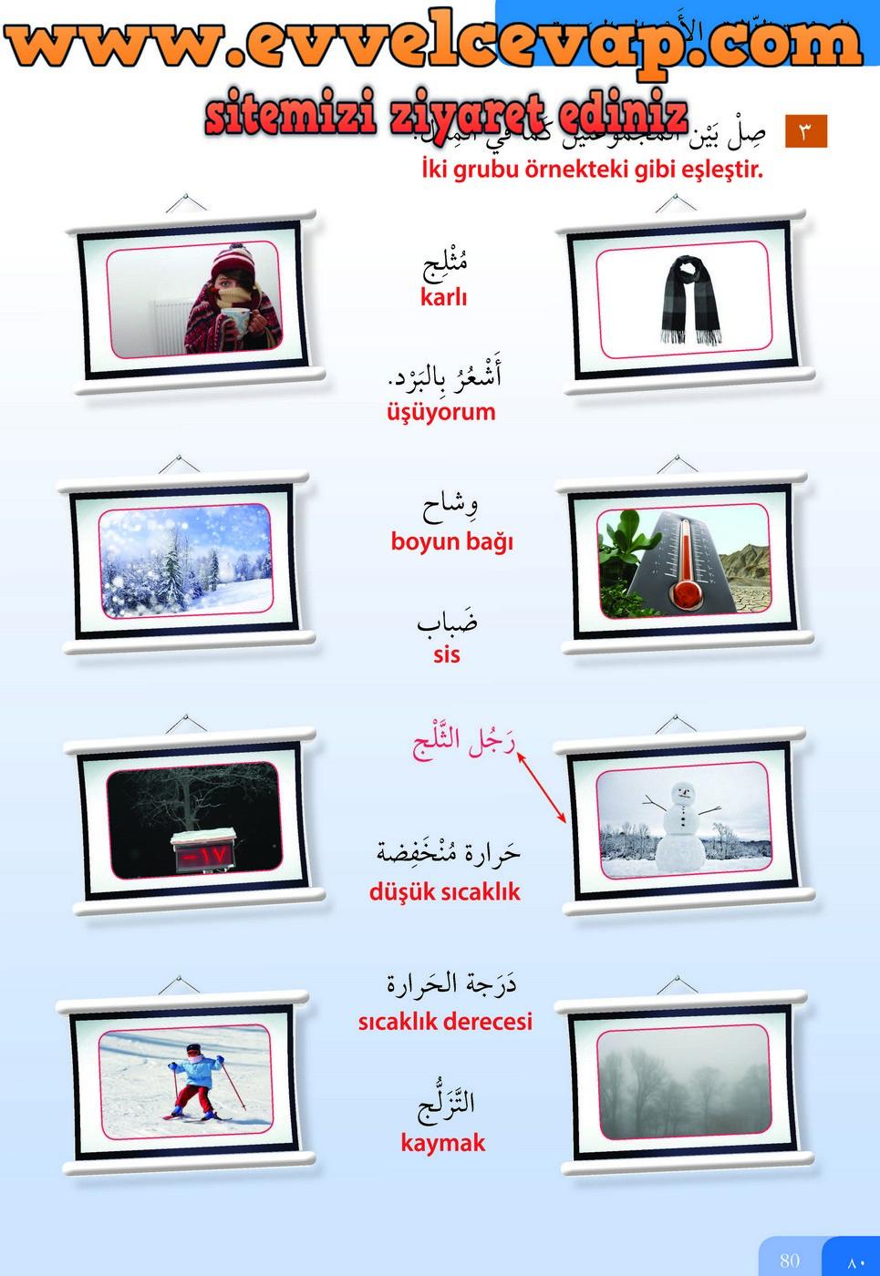 7. Sınıf Meb Yayınları Arapça Ders ve Öğrenci Çalışma Kitabı Sayfa 80 Cevabı