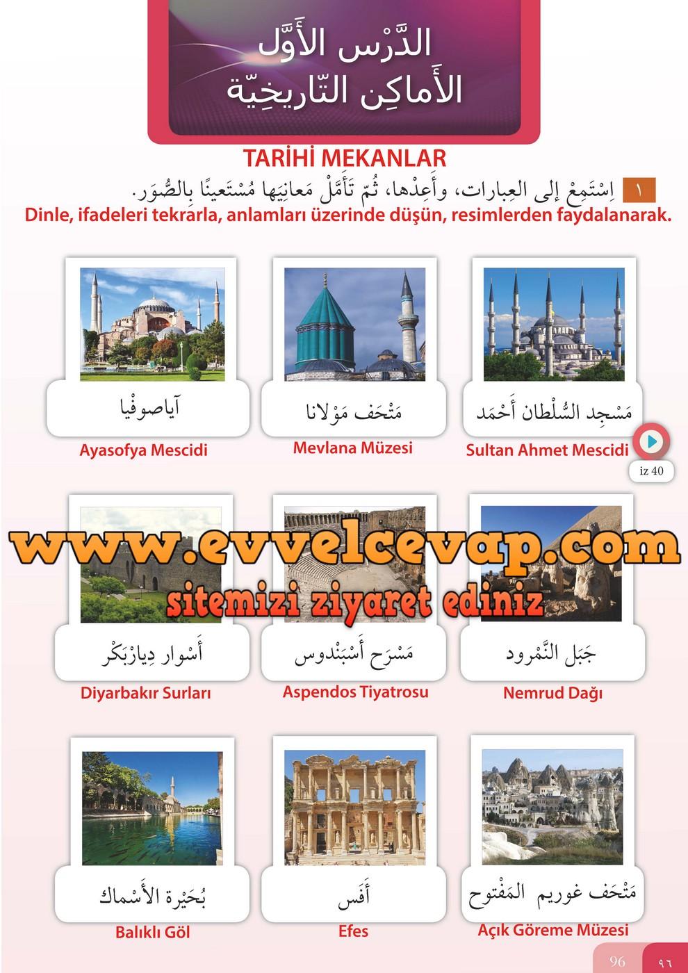 7. Sınıf Meb Yayınları Arapça Ders ve Öğrenci Çalışma Kitabı Sayfa 96 Cevabı