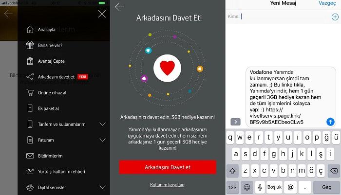 Vodafone Yanımda Arkadaşını Davet Et 3 GB internet