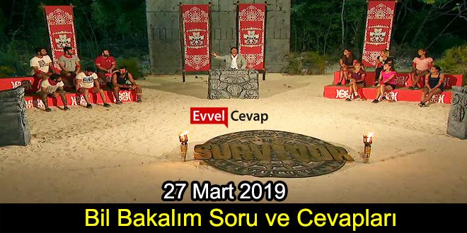 Survivor Bil Bakalım Soru ve Cevapları 27 Mart 2019